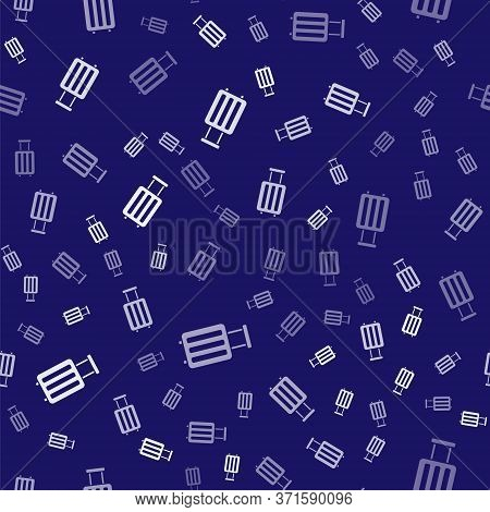 White Suitcase For Travel Icon Isolated Seamless Pattern On Blue Background. Traveling Baggage Sign.