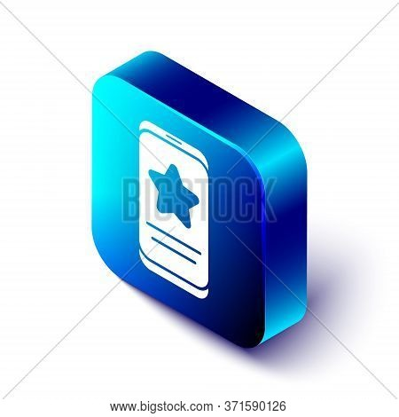Isometric Mobile Phone With Review Rating Icon Isolated On White Background. Concept Of Testimonials
