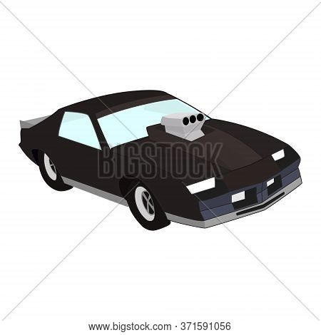 Isometric Car For Drag Racing With A Large Racing Carburetor On The Hood. Muscle Car Isolated On Whi