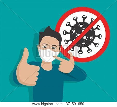 Virus Epidemy Prevention Concept - Happy Smiling Young Man With Respiratory Mask And Thumbs Up - Mot
