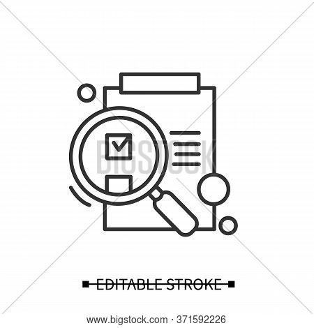 Idea Evaluation Icon. Paper On Clipboard Under Magnifying Glass Linear Pictogram. Research Stage Of
