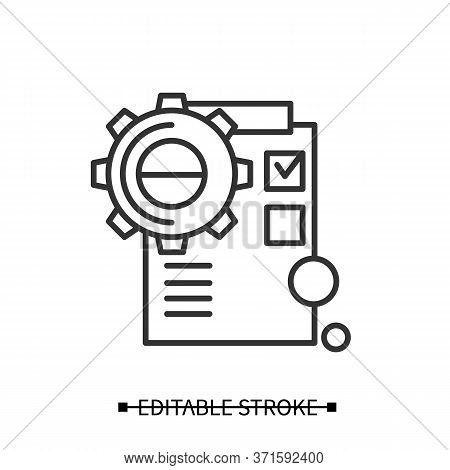 Product Implementation Icon. Gear Line Pictogram With Checklist. Concept Of Creative Product Applica