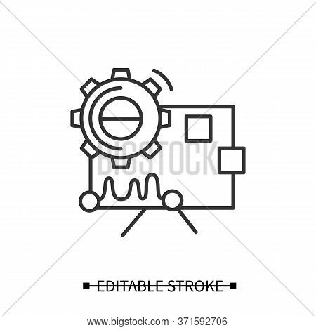 Performance Analysis Icon.gear With Statistic Chart.concept Linear Pictogram For Creative Technology