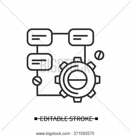 Solution Research Icon. Gear Line Pictogram With Project Structure. Concept Of Creative Process And