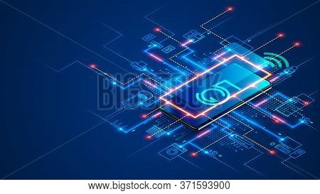 Smart Home Connects To Iot System Via 5th Generation Mobile Internet Over Smartphone. Phone App Cont