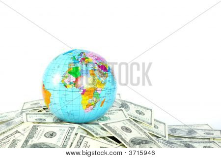 A globe and dollars is isolated on a whiteness poster