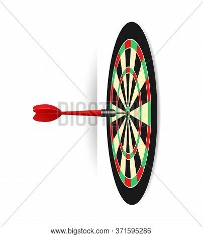 Dartboard Illustration - Dart Game Target With Accurate Shot - Isolated Vector Object
