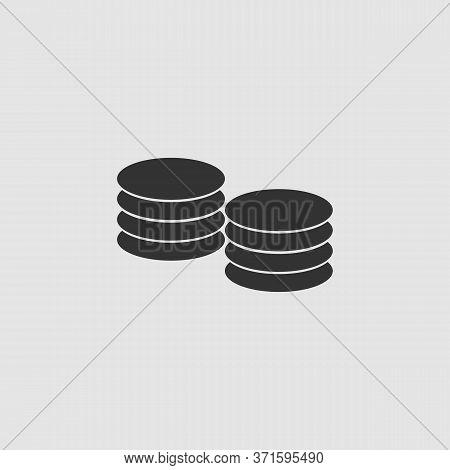 Penny Icon Flat. Black Pictogram On Grey Background. Vector Illustration Symbol