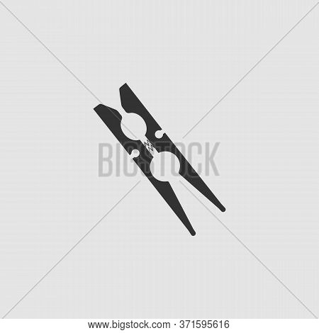 Clothespin Icon Flat. Black Pictogram On Grey Background. Vector Illustration Symbol