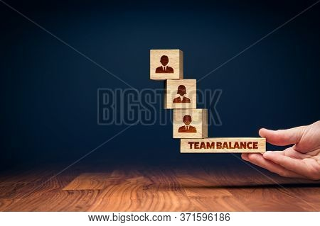 Human Resources Management Team Balance Concept. Manager Balance Optimal Team For The Best Results O