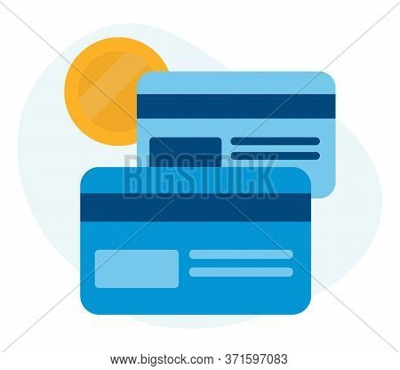 Flat Vector Dark And Light Blue And Yellow Icon. Illustration Of Two Credit, Overdraft, Debit Cards