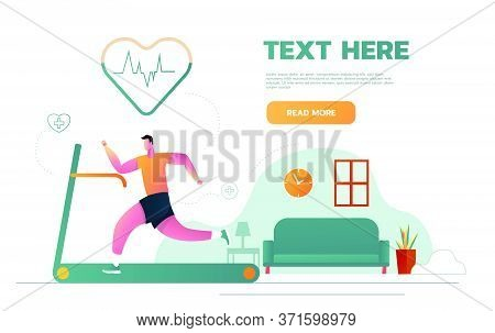 Sports At Home. Man Running On A Motorized Treadmill Flat Vector Illustration. Sports Man On An Elec
