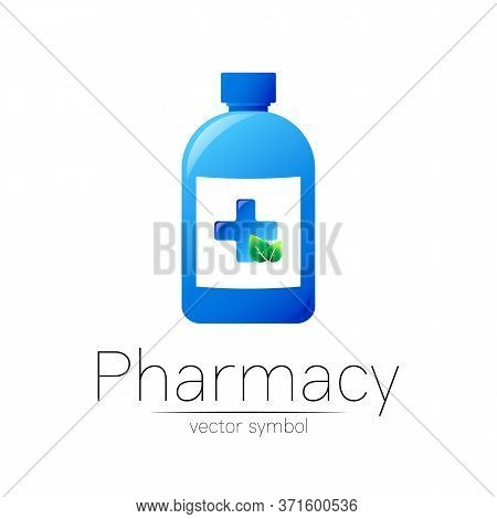 Pharmacy Vector Symbol With Blue Bottle And Cross, Green Leaf For Pharmacist, Pharma Store, Doctor A