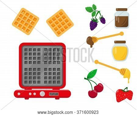 Waffle Iron With Waffles And Ingredients For Serving And Decorating. Set Vector Illustration On Whit