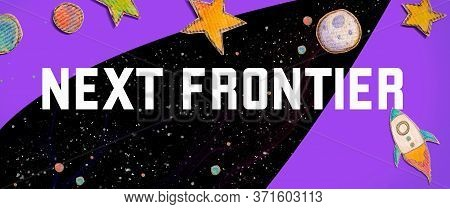 Next Frontier Theme With Space Background With A Rocket, Moon, Stars And Planets