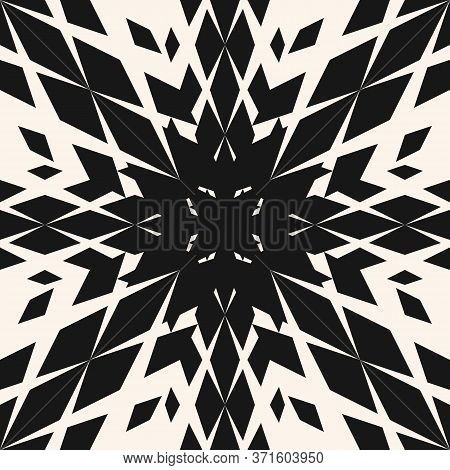 Vector Geometric Seamless Pattern With Diamonds, Rhombuses, Flower Silhouette. Abstract Monochrome T