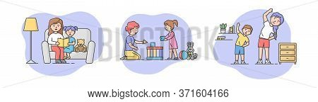 Concept Of Family Spending Time. Mother Is Reading Book, Do Exercises With Son, Play Toys With Daugh