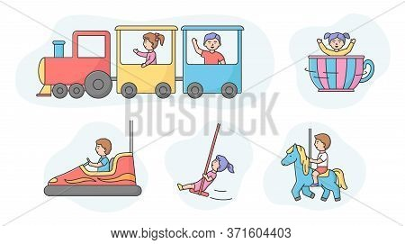 Luna Park Concept. Set Of Happy Children Boy And Girl Ride Different Attractions In Entertainment Pa