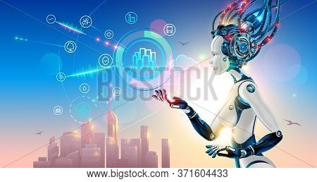Artificial Intelligence Controls Smart City Via Internet And Hud Interface With Icons Urban Infrastr