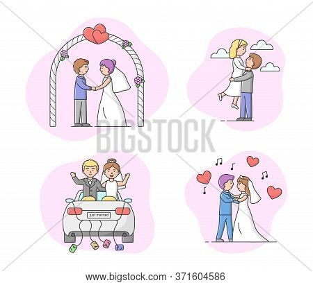 Concept Of Marriage Ceremony. Set Of Couples Grooms And Brides Enjoy Each Other. Just Married Men An