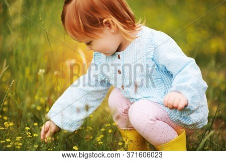 Beautiful Happy Baby Girl Cropping The Meadow Flowers In The Garden