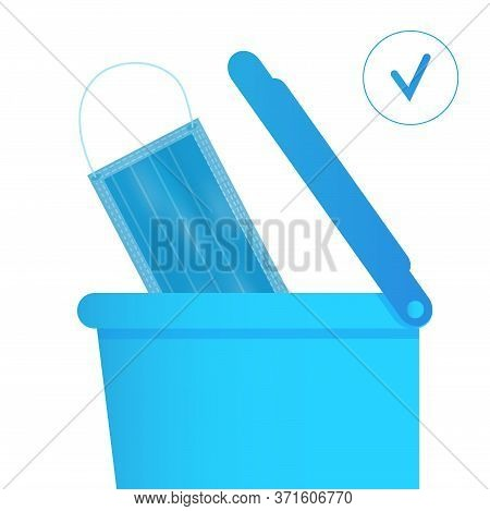 Medical Mask Is Put Into Bin. Somebody Throws Away, Disposes Of Used Surgical Mask. Healthcare Instr