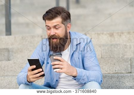 Mobile Chat. Happy Hipster Use Live Chat On Smartphone. Coffee Break. Real Time Text Chat Rooms. Cha