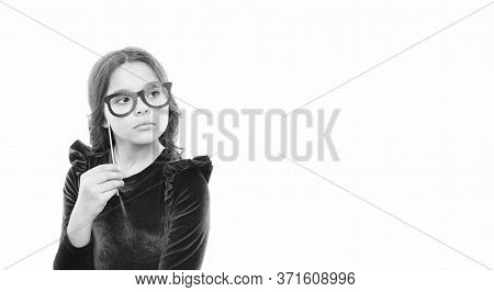 Smart Baby. Kid Hold Cute Eyeglasses Photo Booth Props Accessory. Child Charming Isolated White Back