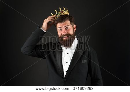 Fit Me Good. Businessman On Corporate Party In Crown. Representative Of Luxury Life. Wearing Symbol