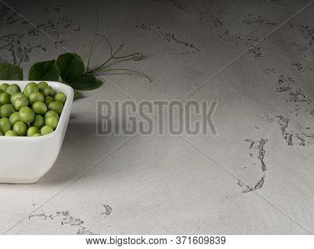 Organic Green Polka Dots On A Grey Background. Twig Of Pea.