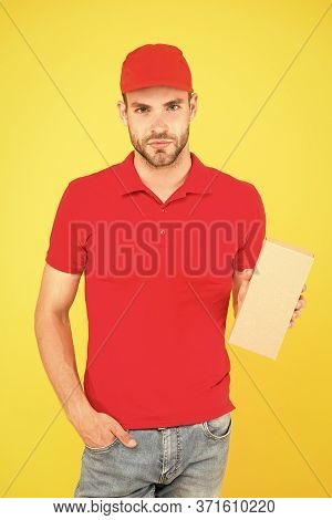 Impressive Seller Man Yellow Background. Have Nice Day. Friendly Sale Assistant. Food Order Delivery