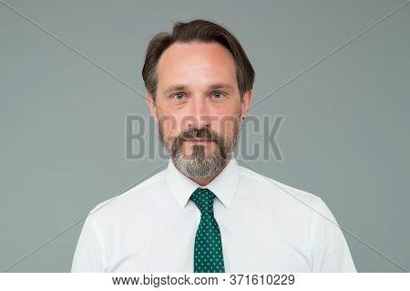 Example Of Classy. Man Handsome Confident Mature Fashion Model Wear Fashionable White Shirt. Sense O