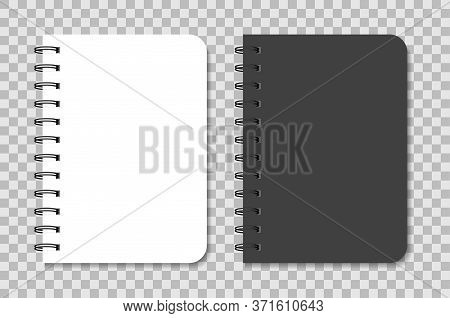 Notebook Mockup With Spiral. Black And White Notepad. Blank Diary With Cover For Note. Template Of A