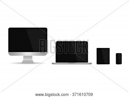 Laptop, Computer Monitor, Tablet, Phone. Pc Device On Desktop. Mockup With Blank Screen. Electronic