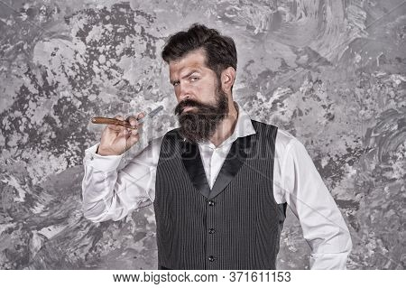 Shaving With Straight Razor. Brutal Hairstylist In Barbershop. Bearded Mature Man Works At Barbersho