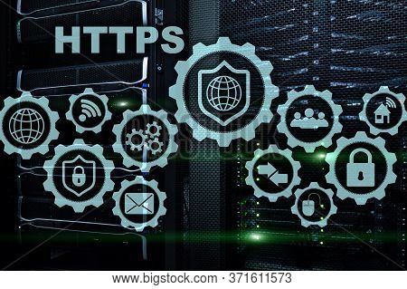 Https. Hypertext Transport Protocol Secure. Technology Concept On Server Room Background. Virtual Ic