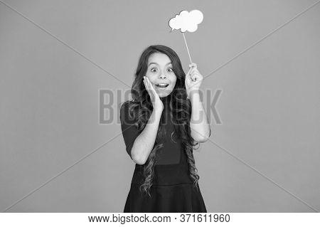 Brainstorming. Girl Hold Empty Speech Bubble Copy Space. Text Bubble Concept. Childhood Memories. Sp