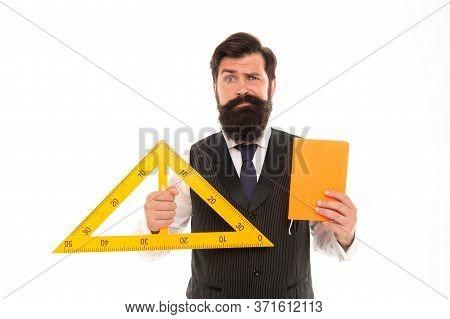 School Classes. Science Technology Engineering And Mathematics. Measurement Tool. Teacher Bearded Ma