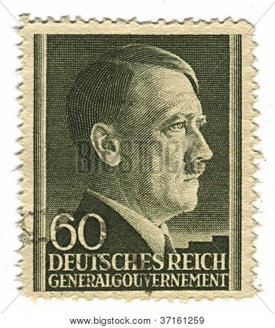 GERMANY - CIRCA 1943: A stamp printed in Germany shows image of Adolf Hitler was an Austrian-born German politician and the leader of the Nazi Party, in black, circa 1943.