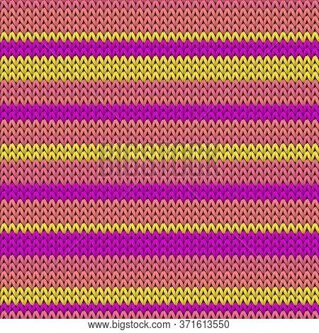 Natural Horizontal Stripes Knitting Texture Geometric Vector Seamless. Fair Isle Sweater Knitwear Fa
