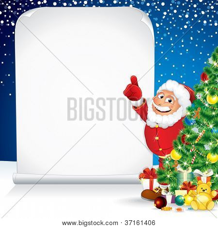 Santa Claus with Christmas Gifts and Scroll