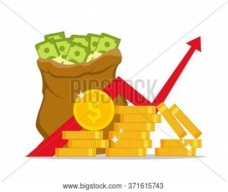 Profit Money Or Finance. Growth Income In Economy. Economic Expence In Budget. Inflation Of Currency