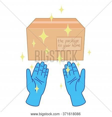 Contactless Delivery In Rubber Gloves Concept. Hands Pass The Box In Sterilized Blue Gloves Without