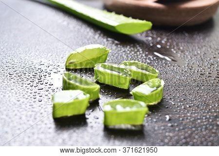Aloe Vera Slice On Table, Fresh Aloe Vera, Chopped Aloe Vera Slices