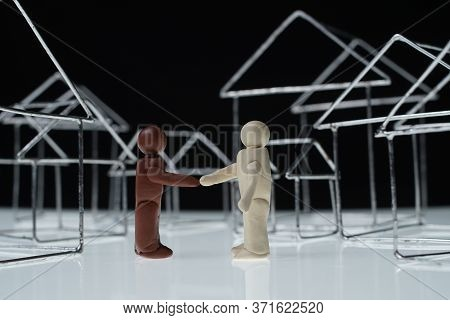 Black And White Man Figurines And Residential Houses Outline Isolated On White.\rafro American And C