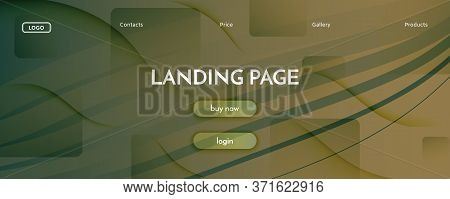Brown Landing Page Design. 3d Flow Shapes Poster. Curve Technology Movement. Green Dynamic Magazine.