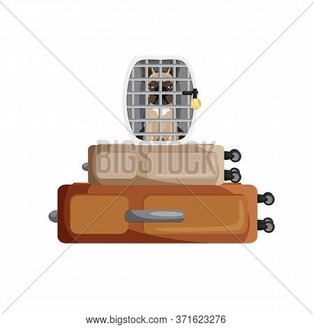 Vector Illustration Of French Bulldog Inside Cage Isolated. Cartoon Domestic Pet In Dog Carrying Ove