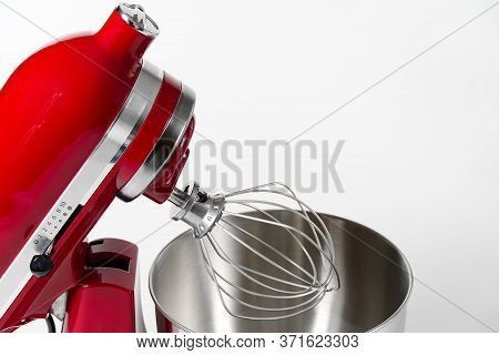 Stylish Red Kitchen Mixer With Clipping Path Isolated On White Background. Professional Steel Electr
