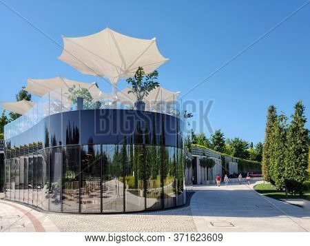 Galitsky Park, Krasnodar, Russia-07.06.2020:the Appearance Of The Glass Caf With A Beautiful Terrace