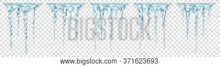 Set Of Groups Of Translucent Light Blue Realistic Icicles Of Different Lengths Connected At The Top.